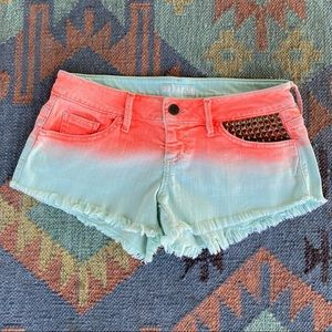 GUESS Kate Studded & Frayed Colored Denim Shorts